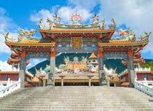 De ingang van de Chinese tempel stock afbeeldingen