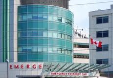 De Ingang van de noodsituatie met een Canadese vlag Stock Foto's