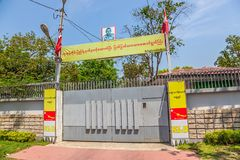 De ingang van het Aungsan Suu Kyi huis Stock Foto's