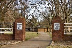 De Ingang van het Gaismanpark, Stad van Memphis Park Service stock foto