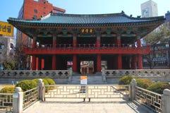 De Ingang van het Paviljoen van de Klok van Bosingak, Seoel Stock Fotografie