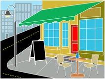 De ingang van het restaurant op straathoek Royalty-vrije Stock Foto