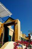 De Ingang van het restaurant - Santorini, Griekenland Stock Afbeelding