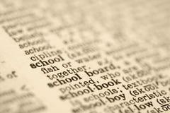 De ingang van het woordenboek voor school. stock foto