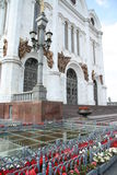 De ingang van Kathedraal van Jesus-Christus de Verlosser in Moskou Stock Foto