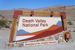 De ingangsteken van het Park van de Vallei van de dood Nationaal Stock Afbeeldingen