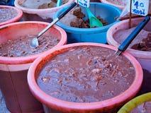 de ingelegde vis op witte achtergrond, traditionele Thaise stijl ruwe bewaarde vissen, Thais accent is pla-Ra royalty-vrije stock fotografie
