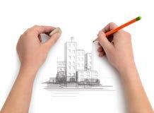 De ingenieur, ontwerper, kunstenaar, trekt een potloodproject van de stad Royalty-vrije Stock Foto's
