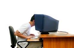 De ingenieur van IT over wit Stock Foto's