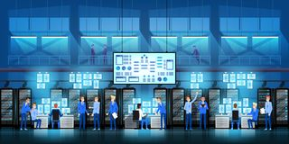 IT de ingenieurs in groot gegevenscentrum werken aan het project van de nieuwe technologieoverheid met serverruimten en computers royalty-vrije illustratie