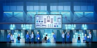 IT de ingenieurs in groot gegevenscentrum werken aan het project van de nieuwe technologieoverheid met serverruimten en computers vector illustratie