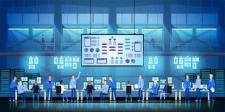 IT de ingenieurs in groot gegevenscentrum werken aan het project van de nieuwe technologieoverheid met serverruimten en computers stock illustratie