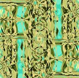 De ingewikkelde futuristische groene verplaatste munt van de ornamenten lichtgroene olijf Stock Afbeeldingen