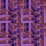De ingewikkelde roze purpere lichtbruine zwarte van het vierkantenpatroon met roze verplaatste strepen Stock Afbeeldingen