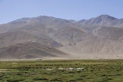 De ingezetenen van Bulunkul in Tadzjikistan hebben de wassen om op het gras ontworpen te drogen stock foto's