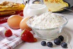 De ingrediënten van de pannekoek Royalty-vrije Stock Fotografie