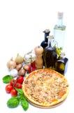 De ingrediënten van de pizza en van het voedsel stock foto