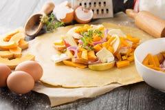 De ingrediënten van de pompoenpastei Stock Foto's