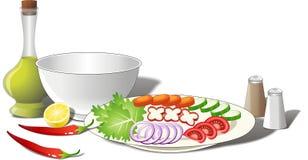 De Ingrediënten van de salade royalty-vrije illustratie