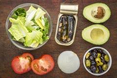 De ingrediënten van de sardinesalade Stock Foto