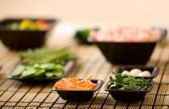 De ingrediënten van de wok Stock Foto