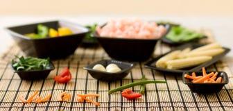 De ingrediënten van de wok Stock Afbeelding