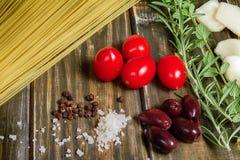 De ingrediënten van deegwaren Stock Fotografie