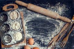 De ingrediënten van het bakselgebakje Stock Afbeelding