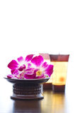 De ingrediënten van het kuuroord en orchideebloemen stock afbeeldingen