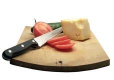 De ingrediënten van het voedsel en keukenmes Stock Fotografie