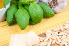 De ingrediënten van Pesto Stock Afbeelding