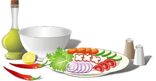 De Ingrediënten van de salade Royalty-vrije Stock Foto's