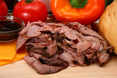 De Ingrediënten van de Sandwich van Angus Roast Beef Royalty-vrije Stock Foto
