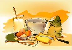 De ingrediënten van het baksel Stock Afbeeldingen
