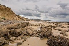 De Inham New Port Beach van het kristal op bewolkte dag royalty-vrije stock afbeelding