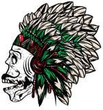 De inheemse Amerikaanse Indische belangrijkste grafiek van de hoofddekselt-shirt Stock Fotografie
