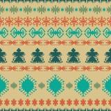 De inheemse etnische traditionele geometrische kunst van het Indiaan naadloze patroon met retro uitstekende ontwerpelementen en p royalty-vrije illustratie