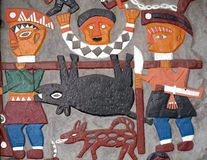 De inheemse Geschilderde Decoratie van de Muur Stock Foto's
