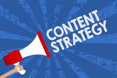 De Inhoudsstrategie van de handschrifttekst De conceptenbetekenis leidt marketing tot plan gebruikend de goede foto's en woordenm vector illustratie