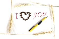 De inkt van de inschrijving, hart van koffie en roggestelen Stock Afbeeldingen