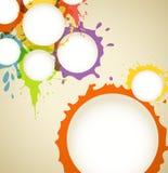De inkt van de kleur bevlekt toespraakwolken Stock Afbeeldingen