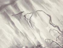De inkt van het regenlandschap het schilderen stock foto