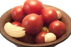 De inlagda röda tomaterna Royaltyfri Bild