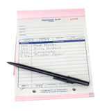 De inpakkende Geïsoleerdeu Achtergrond van de Pen van de Lijst van de Misstap Stootkussen Stock Foto