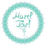 De inschrijving die Mazel Tov Hebree?r in vertaling van letters voorzien wens ik u geluk De hand trekt, Krabbel Vector illustrati royalty-vrije illustratie