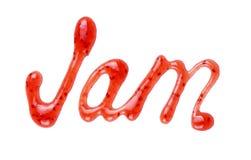De inschrijving & x22; Jam& x22; geschreven bovenste laagje op een witte achtergrond Stock Foto's
