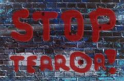 De inschrijving op de muur van graffiti met de slogan Stock Afbeeldingen