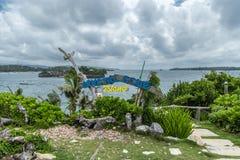 De inschrijving op een mooi tropisch Crystal Cove-eiland dichtbij Boracay-eiland in de Filippijnen royalty-vrije stock foto's