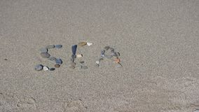 De inschrijving op het zand Word van het overzees Royalty-vrije Stock Foto's