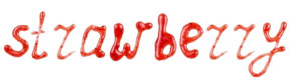 De inschrijving & x22; Strawberry& x22; geschreven bovenste laagje op een witte achtergrond Stock Foto